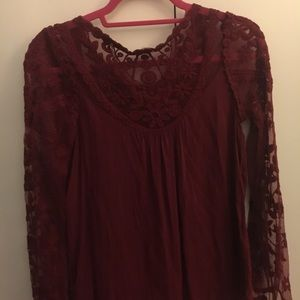 Lacey Deep Red Long Sleeve